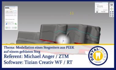 Modellation eines Stegreiters aus PEEK auf einem gefrästen Steg