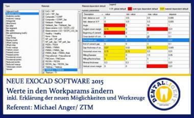 Werte in den Workparams ändern - Exocad2015